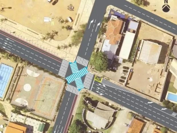 Faixa diagonal evita que pedestres façam duas travessias para acessar outro lado da via (Foto: Prefeitura de Fortaleza/Divulgação)