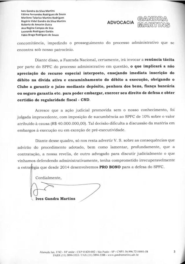 Carta Ives Gandra para Leco São Paulo 3 (Foto: Arte: GloboEsporte.com)