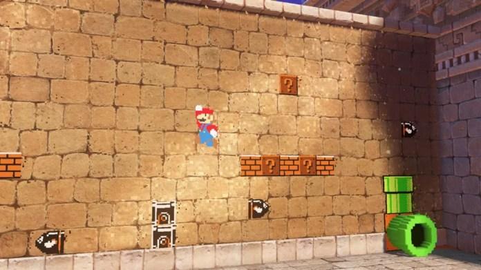 Mario assume sua forma 8 bits, da época do Nintendinho, em alguma fases de 'Super Mario Odyssey' (Foto: Divulgação)