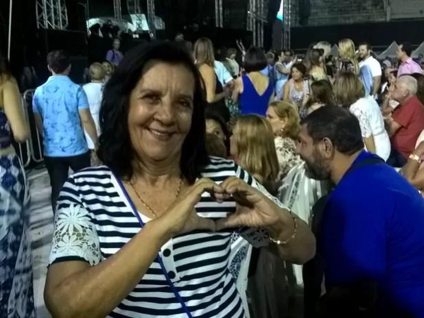 Marcia Fernandes, no show de Roberto Carlos (Foto: Viviane Machado/ G1)