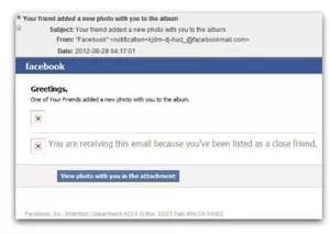 Reprodução de mensagem de e-mail com golpe enviado usando o nome do Facebook (Foto: Reprodução)
