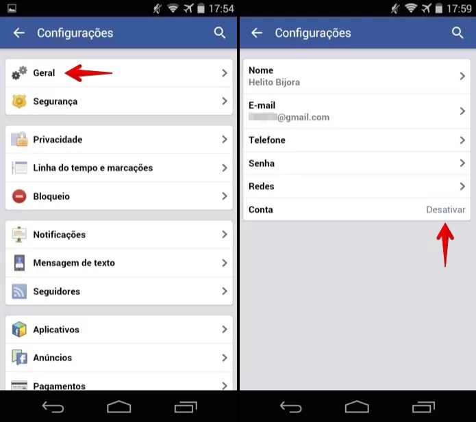 Desativando conta do Facebook no Android (Foto: Reprodução/Helito Bijora)