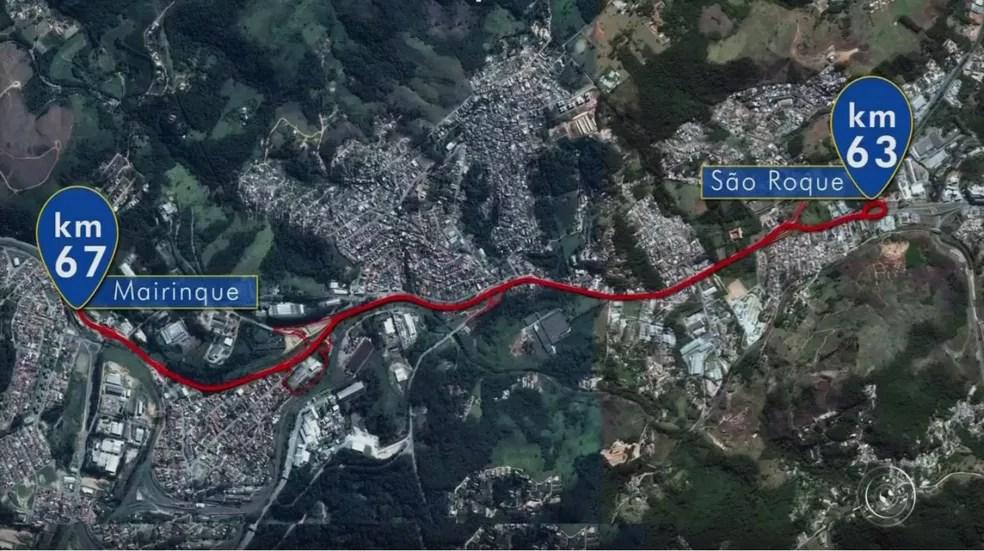 Obra na rodovia Raposo Tavares foi realizada no trecho entre Mairinque e São Roque (Foto: Reprodução/TV TEM)