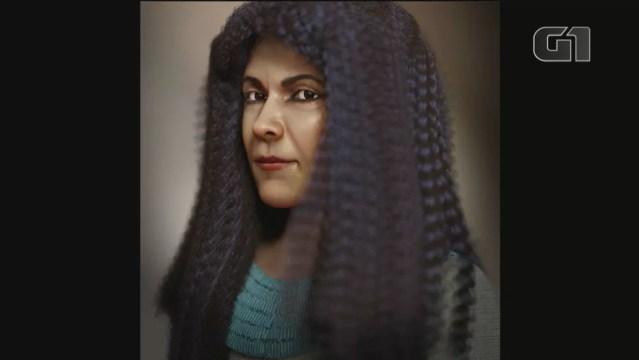 Imagem elaborada em software de 3D mostra como seria o rosto de Iret-Neferet, múmia egípcia descoberta em Cerro Largo — Foto: Reprodução/Cícero Moraes