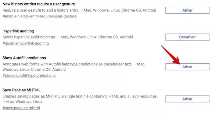 Ativando um recurso experimental no Chrome