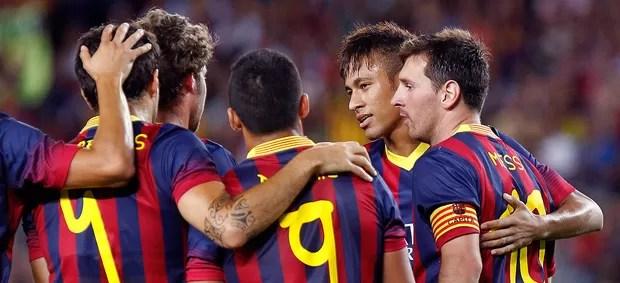 Neymar comemoração jogo Barcelona e Santos (Foto: AFP)