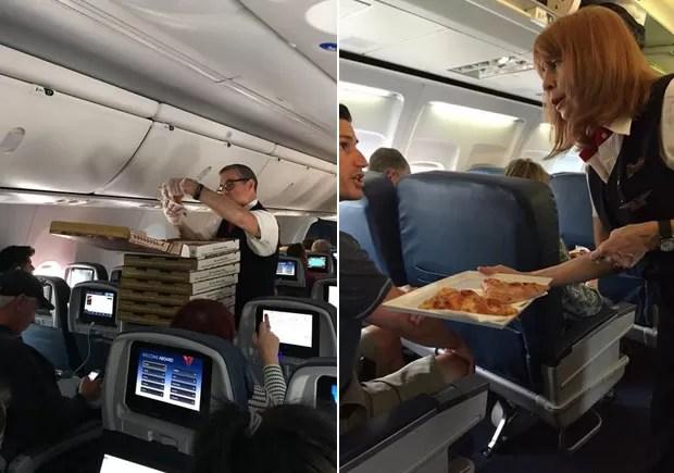 Comissários entregam pizzas para passageiros em avião nos EUA (Foto: Reprodução/Riley Vasquez e Bill Wittenmyer/Twitter)