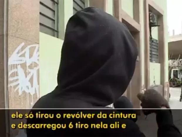 Testemunha diz que viu homem atirando (Foto: TV Globo/Reprodução)