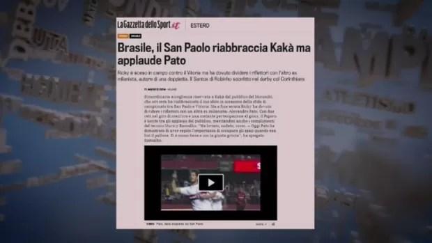 Jornal italiano dá destaque a Kaká, Robinho e Pato (Foto: Reprodução SporTV)