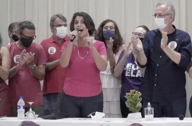 Manuela fez um pronunciamento pelas redes sociais após confirmação do resultado — Foto: Reprodução/Facebook