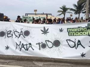 Manifestantes se reúnem em Marcha da Maconha, na Zona Sul do Rio (Foto: Henrique Coelho/G1)