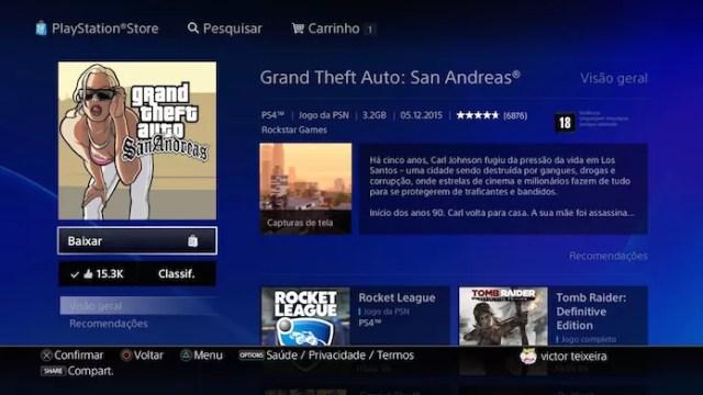 GTA: San Andreas: jogo roda em 1080p com suporte para troféus (Foto: Reprodução/Victor Teixeira)