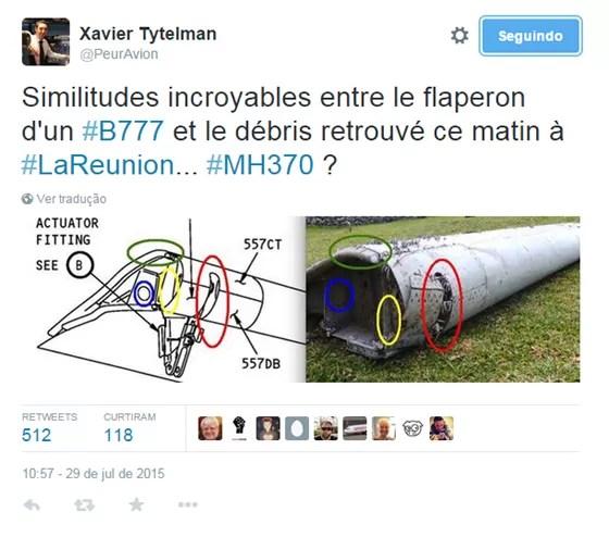 Imagem do especialista em aviões francês Xavier Tytelman. Ele mostra como os destroços de uma asa se parecem com os desenhos de um Boeing 777, o que levantou a possibilidade de destroços serem do voo da Malaysia Airlines (Foto: Reprodução)