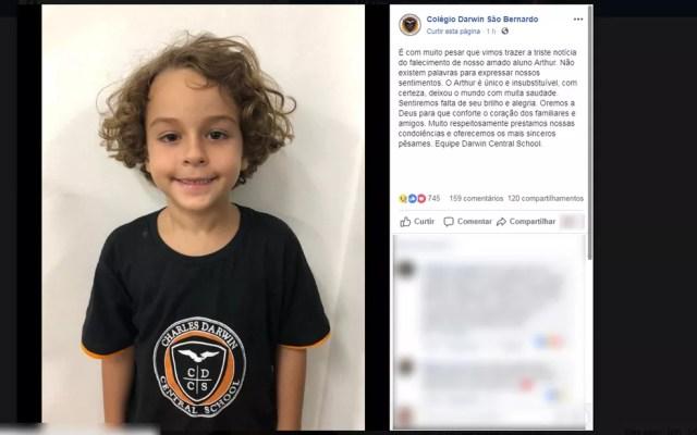 Colégio onde Arthur estudava prestou homenagem à criança nas redes sociais  — Foto: Reprodução/Redes Sociais