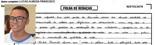 Trecho de redação de Lucas Almeida Francisco, de Sergipe. (Foto: Reprodução/Divulgação)