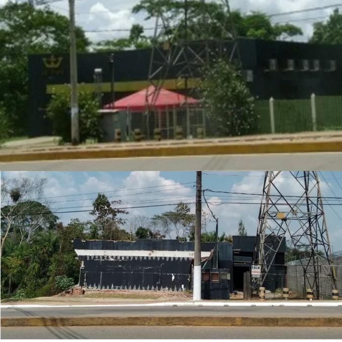 Registro de 2013 (de cima) mostra como era o prédio da antiga boate e como está agora (de baixo) — Foto: Duaine Rodrigues e Aline Nascimento/G1