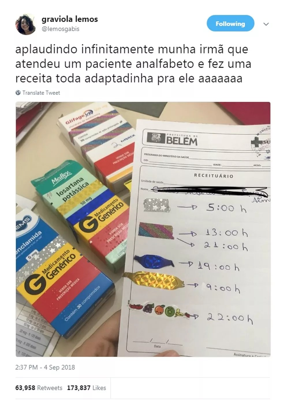 Post da irmã, Gabriela, teve mais de 170 mil curtidas nas redes sociais. (Foto: Reprodução / Twitter)
