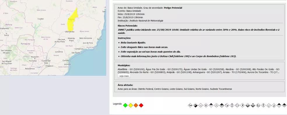 Alerta do Inmet para baixa umidade no DF — Foto: Inmet/Reprodução