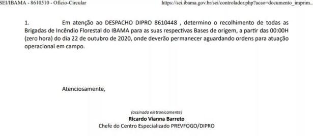 Trecho de circular que determina o recolhimento de brigadas de incêndio florestal do Ibama — Foto: Reprodução