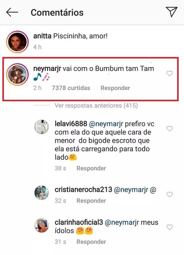 Neymar comenta foto de Anitta de biquíni (Foto: Reprodução/Instagram)
