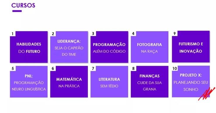 Cursos oferecidos pelo aplicativo da New School — Foto: Divulgação/ Instagram/ NewSchoolapp