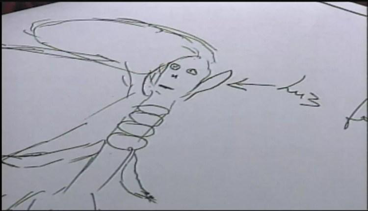 Rapaz desenhou ser magro e com olhos vermelhos que teria o atacado em Sorocaba — Foto: Arquivo/TV TEM