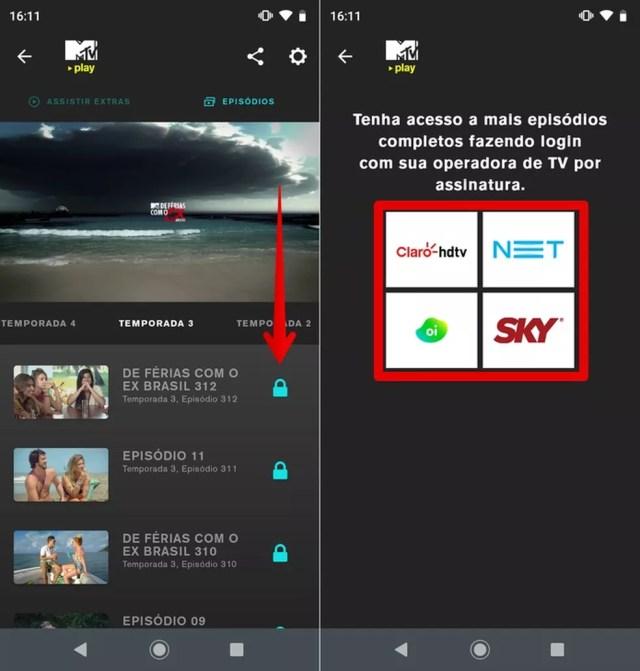 Assistindo a um episódio bloqueado no MTV Play — Foto: Reprodução/Helito Beggiora