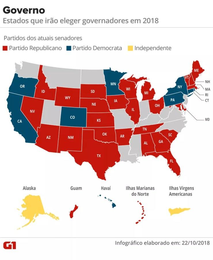 Mapa de governadores dos EUA — Foto: Karina Almeida/G1