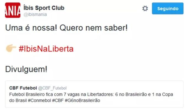 Íbis faz campanha na web por Libertadores (Foto: Reprodução / Twitter)