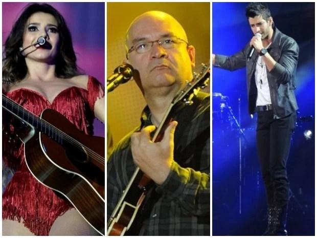 Paula Fernandes, Paralamas do Sucesso e Gusttavo Lima são as atrações principais do réveillon de Fortaleza (Foto: Arte/G1)