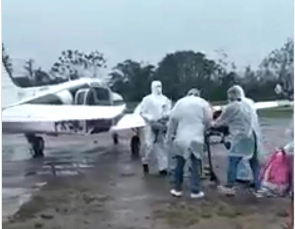 Em estado grave, paciente de 49 anos precisou ser transferido do Jordão para Rio Branco  — Foto: Reprodução