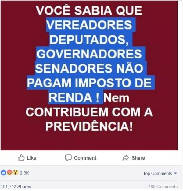 Post no Facebook sobre IR e Previdência de políticos (Foto: Reprodução/ Facebook)