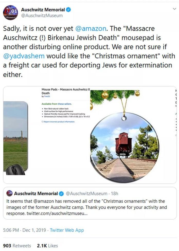 Tweet do Auschwitz Memorial — Foto: Reprodução G1/ Twitter Auschwitz Memorial