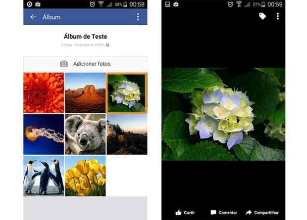 Abra a foto que você deseja compartilhar pelo app do Facebook.