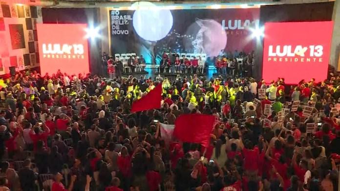 Convenção do PT para oficializar nome de Lula como candidato à Presidência (Foto: Reprodução/TV Globo)
