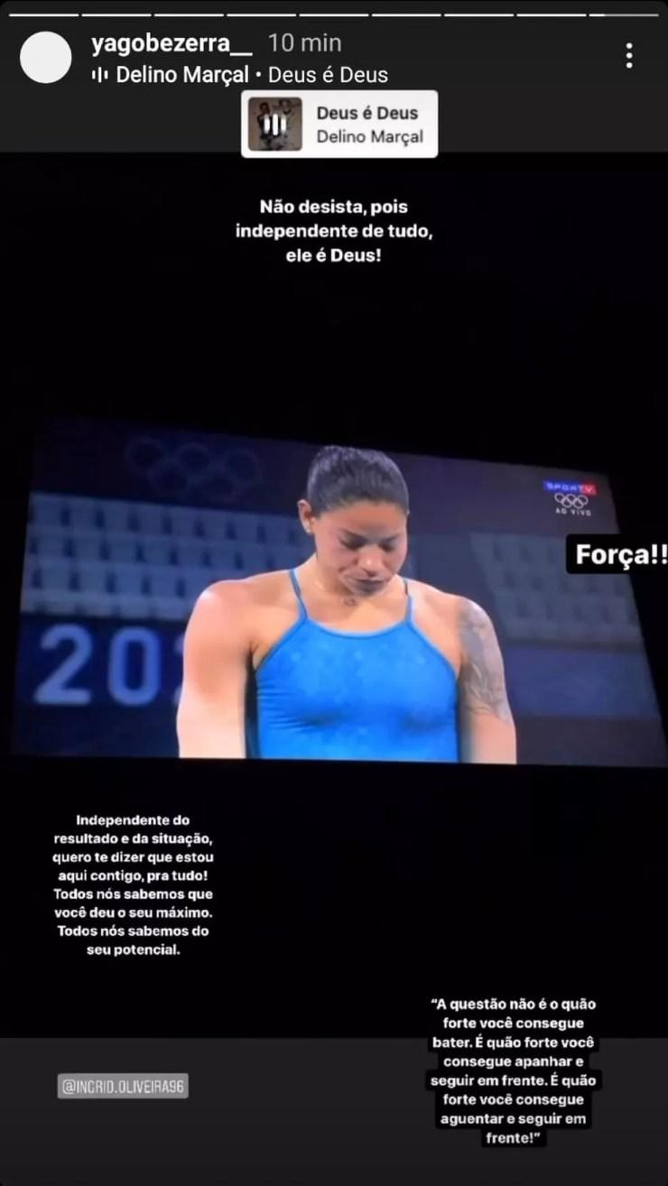 Namorado de Ingrid Oliveira posta mensagem de força após eliminação da atleta em Tóquio — Foto: Reprodução