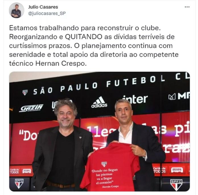Postagem de Julio Casares em apoio a Crespo — Foto: Reprodução