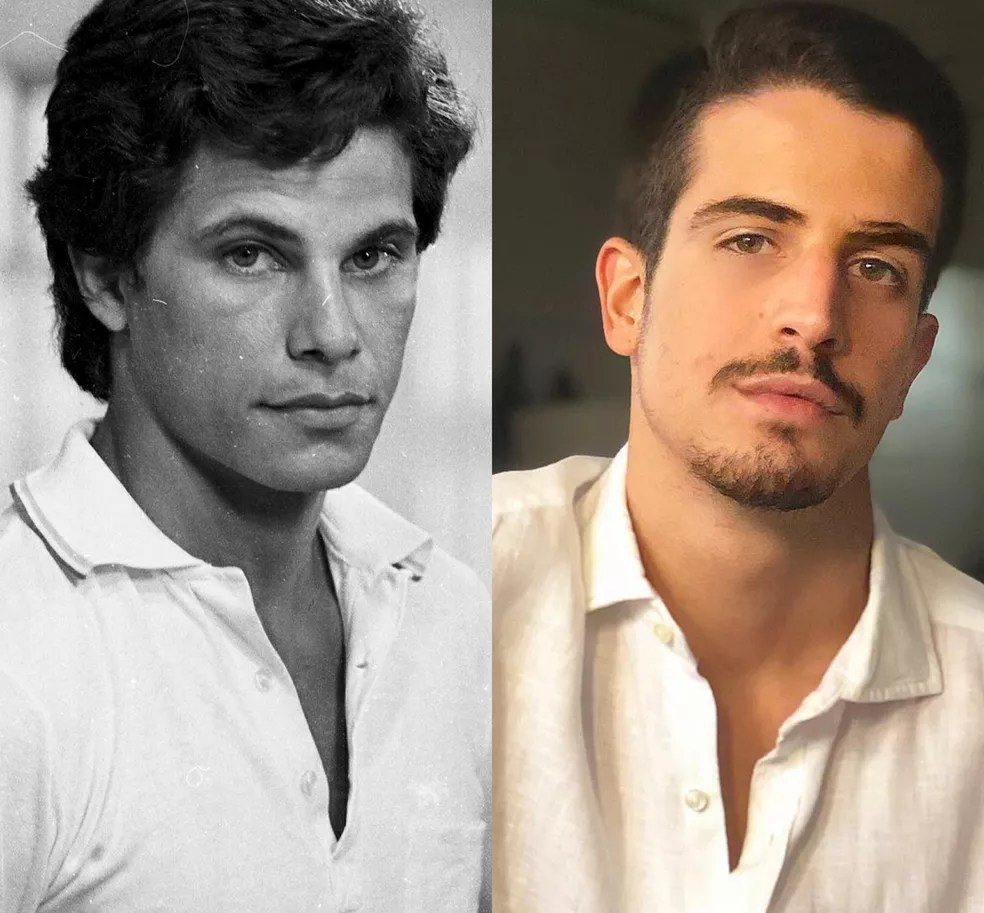 Edson Celulari e o filho, Enzo, aos 21 anos. Iguais! — Foto: Acervo TV Globo / Reprodução / Redes Sociais