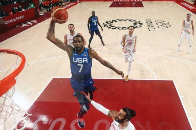 Kevin Durant, EUA x Espanha, basquete, Olimpíadas de Tóquio 2020 — Foto: REUTERS/Gregory Shamus