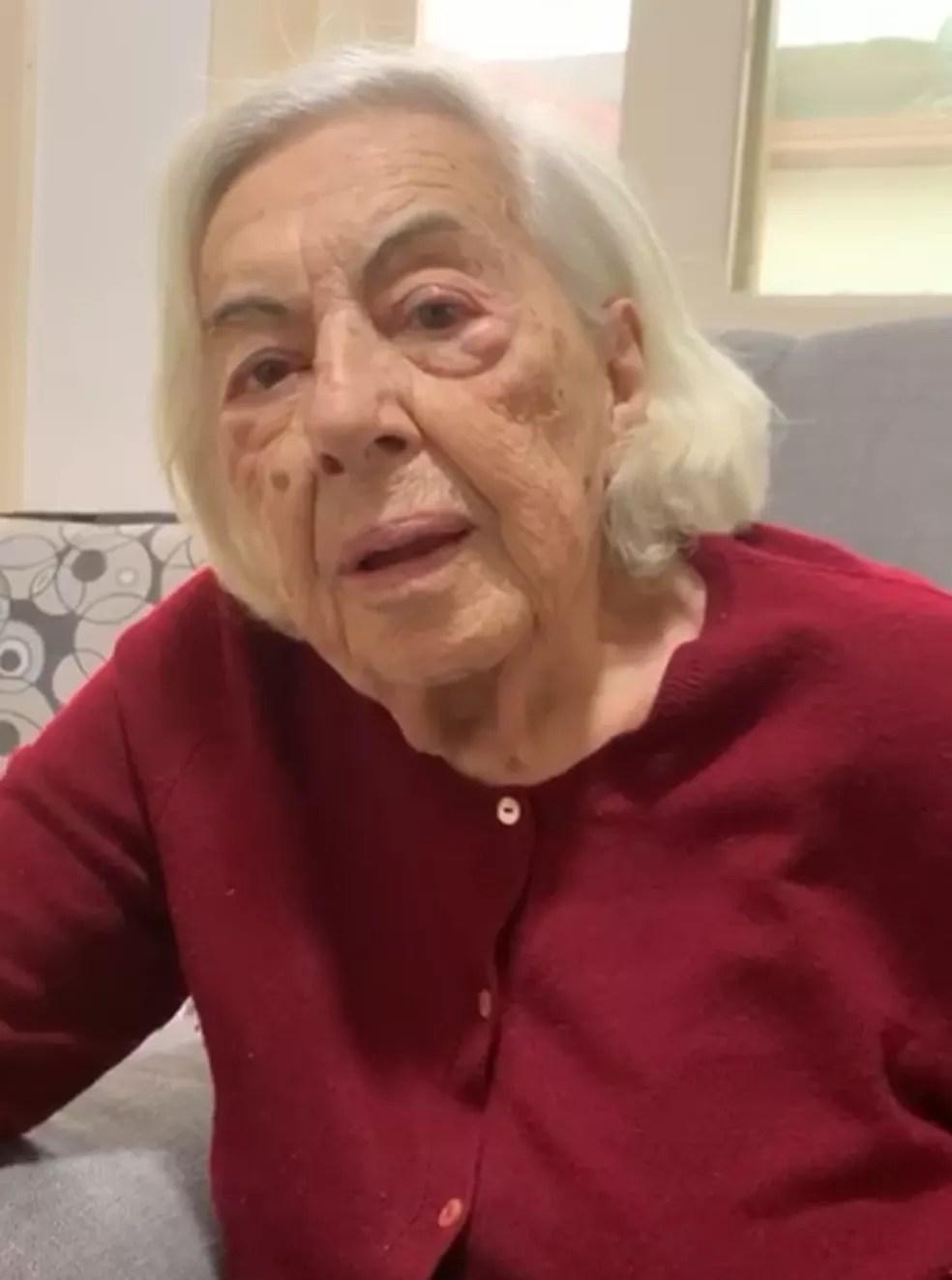 Nathalina Cilona, 96 anos, foi curada coronavírus São José — Foto: Reprodução