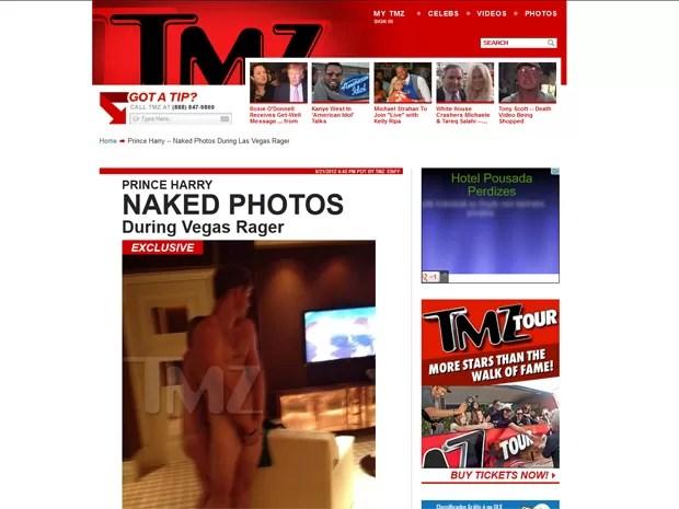 Imagem publicada nesta terça-feira (21), do príncipe Harry, da família real inglesa, sem roupas em Las Vegas (Foto: Reprodução/TMZ)