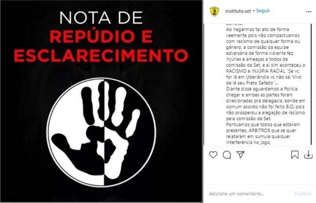 Instituto S.E.T divulgou nota sobre o caso; página foi tornada privada nesta sexta — Foto: Reprodução/Instagram