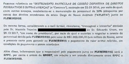 Comunicado de Sport e São Paulo ao Flu (Foto: Reprodução)