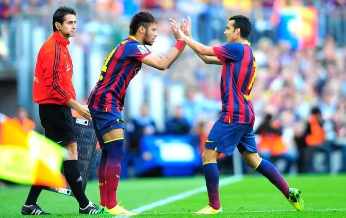 Pedro e Neymar Barcelona e Atlético de Madrid (Foto: Agência AP )