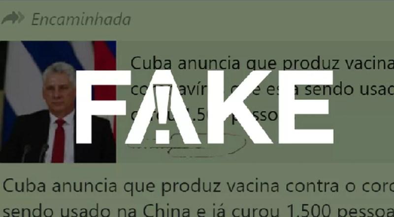 É #FAKE que Cuba anunciou que produz vacina contra o coronavírus — Foto:  G1