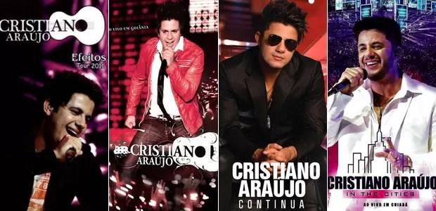 Capas dos quatro discos lançados por Cristiano Araújo (Foto: Divulgação)