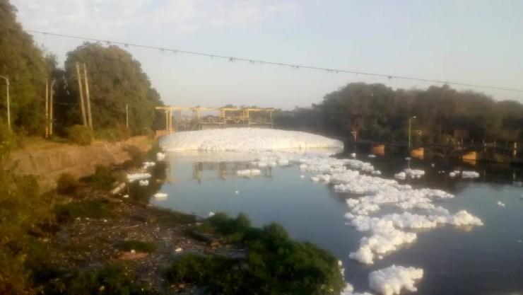 Flagrante foi feito por morador por volta das 7h30 no Rio Tietê em Salto (SP) (Foto: José Maria/Arquivo Pessoal)
