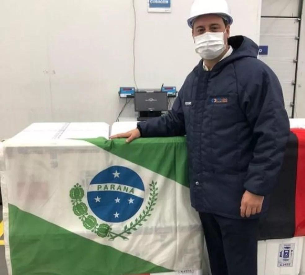 Ratinho Junior participou da reunião com o ministro da Saúde, Eduardo Pazuello, em que vacinação foi liberada — Foto: Reprodução/Instagram