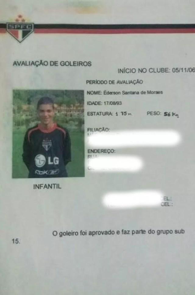 Ficha de aprovação de goleiros do São Paulo: Ederson passou por sub-15 e sub-17 na base (Foto: Arquivo pessoal)