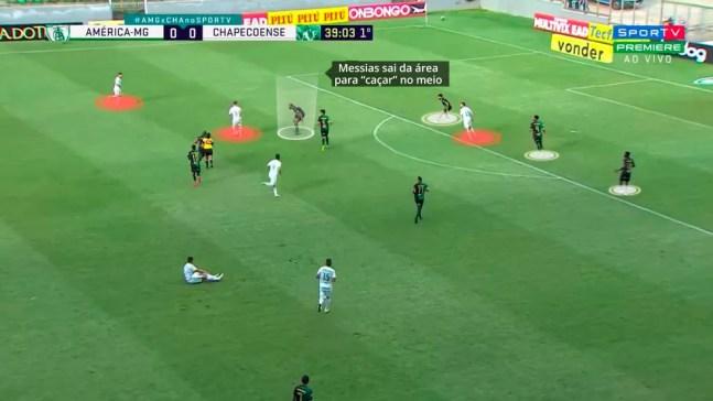 Messias sai da linha defensiva para marcar no meio — Foto: Reprodução/Léo Miranda
